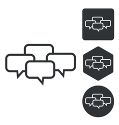 Chat conference icon set monochrome vector