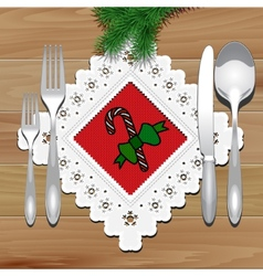 Christmas Napkin Table vector image