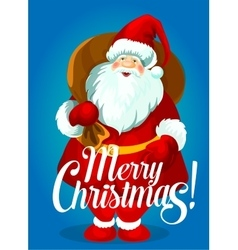 Christmas poster of Santa Claus with gift bag vector