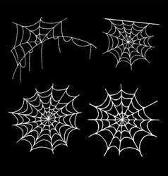 cobweb collection isolated on black background vector image