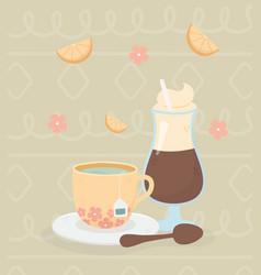 Coffee time coffee mocha tea cup spoon fresh vector