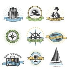 Colored Wanderlust Label Set vector
