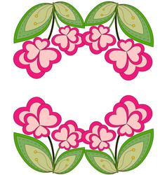 colorful heart flower plant border vector image