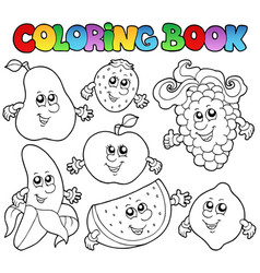 coloring book with various fruits vector image