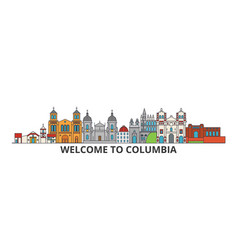 Columbia outline skyline columbian flat thin line vector