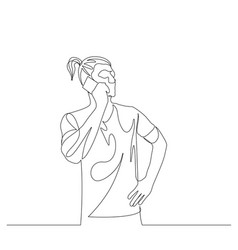 continuous one line ponytail man talking on a vector image