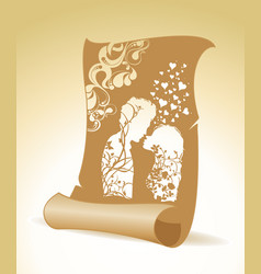couple in love silhouette with floral ornament on vector image