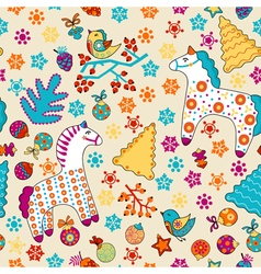 Cute seamless Christmas pattern with horses birds vector image