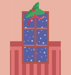 decorated xmas window with mistletoe wall vector image