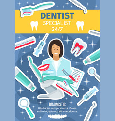 dental care clinic and dentistry medicine doctor vector image