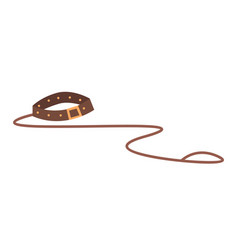 Doggy leather training belt or leash walk with vector