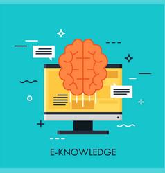 e-knowledge flat concept vector image