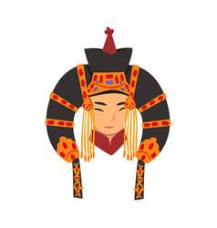 Face beautiful mongol woman central asian vector
