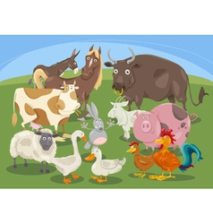 Farm animals group cartoon vector