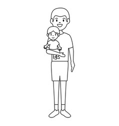 father with baby characters vector image