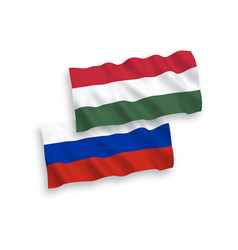flags hungary and russia on a white background vector image