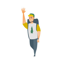 flat cartoon man tourist waving his hand vector image