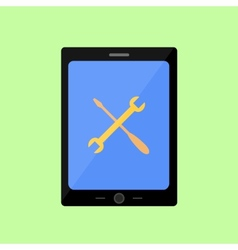 Flat style touch pad with tools vector image