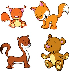 fox bear weasel and squirrel - cute animals vector image
