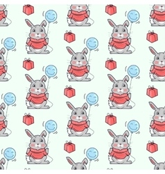 Funny Rabbits Seamless Pattern in Flat vector image