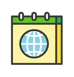 globe or planet earth in calendar icon filled vector image