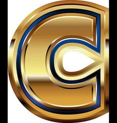 Golden font letter c vector