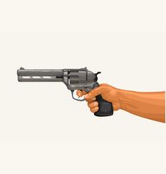 hand holding revolver on white vector image