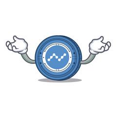 Hand up nano coin character cartoon vector