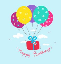 happy birthday gift box and colorful balloon vector image