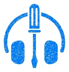 Headphones tuning screwdriver grainy texture icon vector