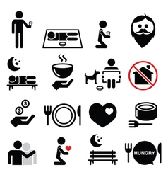 Homeless poverty man begging for money icons set vector