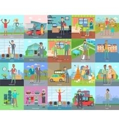 Human Banners Set People Activities vector