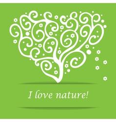 I love nature heart tree symbol vector image