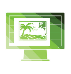 icon of photo editor on monitor screen vector image
