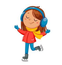 Kid skating cute skater girl cartoon character vector