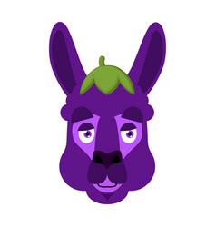 lama alpaca eggplant face avatar purple animal vector image