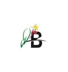 Letter b with parrot bird icon logo design vector