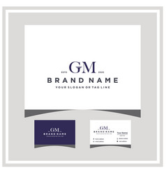 Letter gm law logo design and business card vector