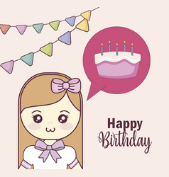 little girl with sweet cake in speech bubble vector image