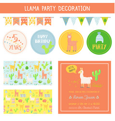Llamas childish decorative elements set vector