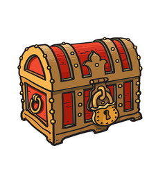Locked pirate treasure chests with golden lock vector