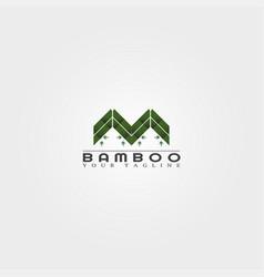 M letter bamboo logo template creative design vector