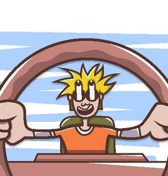 Man driving a car vector