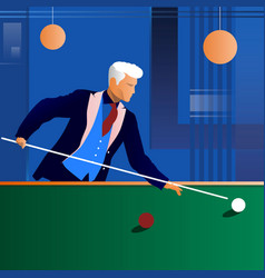 Man playing snooker in the dark club vector