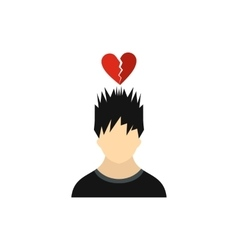 Man with broken red heart over his head icon vector