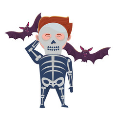 Man with halloween skull costume and bats vector