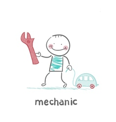 mechanic holding a key and a little car vector image vector image
