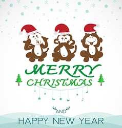 Monkeys merry christmas vector