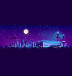 night flights from city airport cartoon vector image