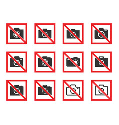 no photography icon set no photo sign vector image